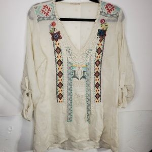 Johnny Was tribal floral eyelet tunic
